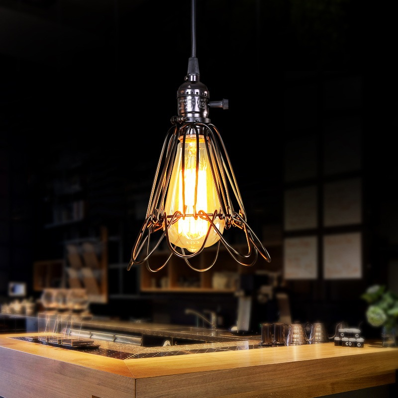 Фотография Italy nordic style retro industrial style village restaurant bar corridor bird cage iron E27 chandelier