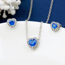 Romantic heart-shaped crystal necklace&earring Fashion for women jewelry sets conjunto de joyas Valentine's day gift collier