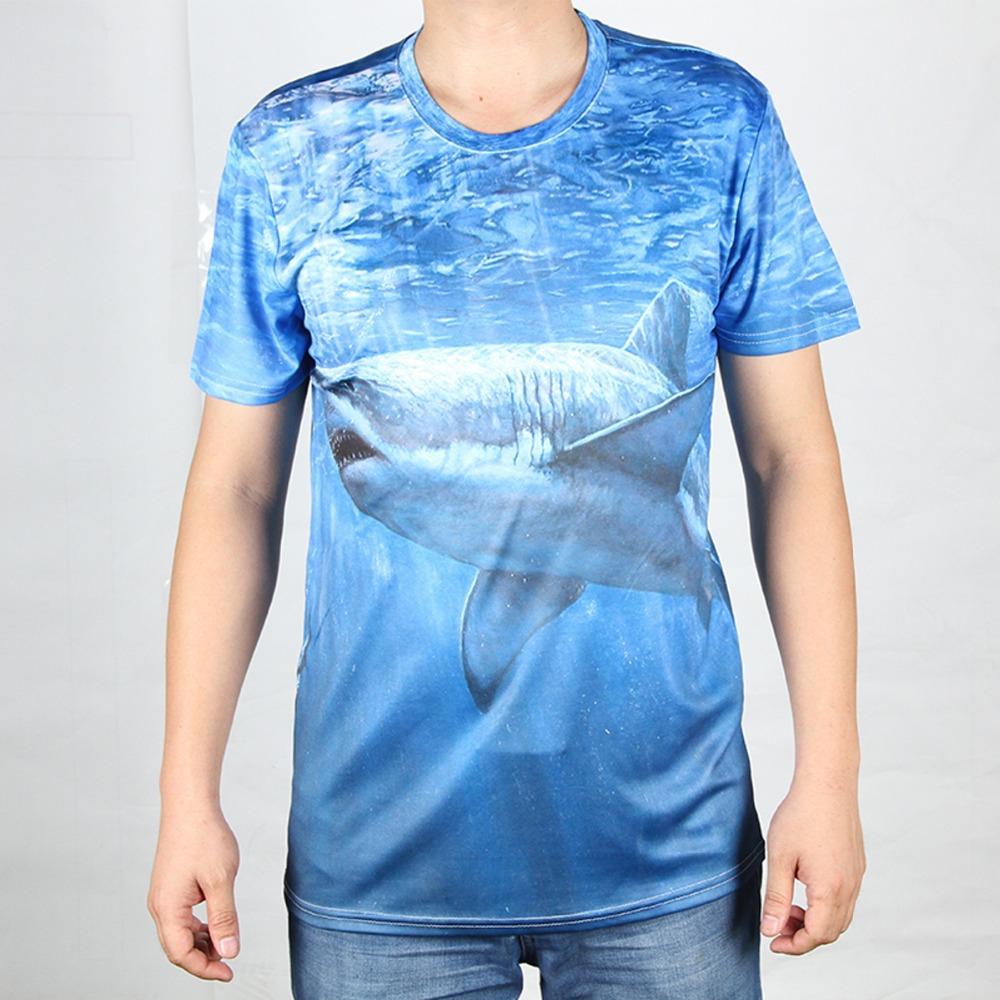 Shark 3D T Shirts Men Sea Animal Man T-Shirt Cotton King Kong Wall-E Mens tshirt O Neck Casual Tops Free Shipping Tees(China (Mainland))