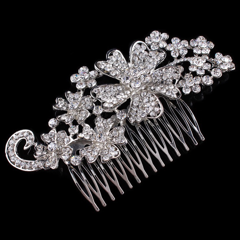 Bridal Hair Jewelry Accessories Sparkling Rhinestone Floral Women Wedding Metal Hair Combs 13.5*7.3cm(China (Mainland))