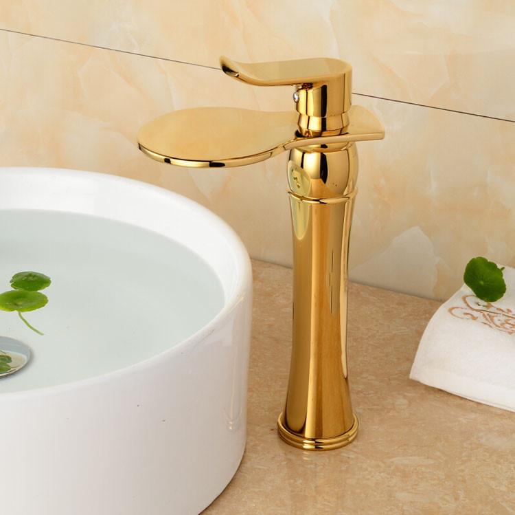 Купить Отличное Качество Высокий Ванной Бассейна Смеситель Золотой Полированный Водопад Кран Раковины