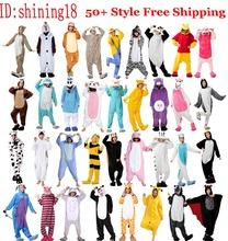 Hot Unisex Adult Flannel Pajamas Adults Cosplay Cartoon Cute Animal Onesies Pyjama Sets Sleepwear Pikachu/Stitch/Unicorn/Tiger