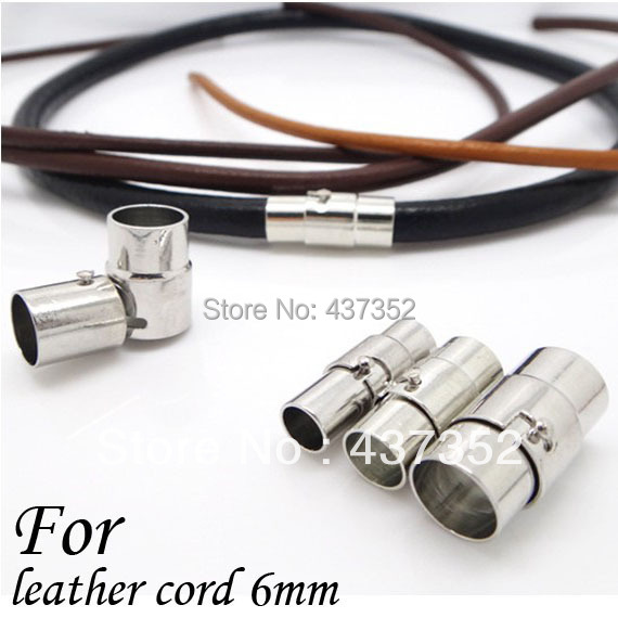 100piece/Lot Rhodium Plated 6mm Round Leather Cord End Caps, Leather Jewelry Tube Clasps, Slider Magnetic Clasps<br><br>Aliexpress