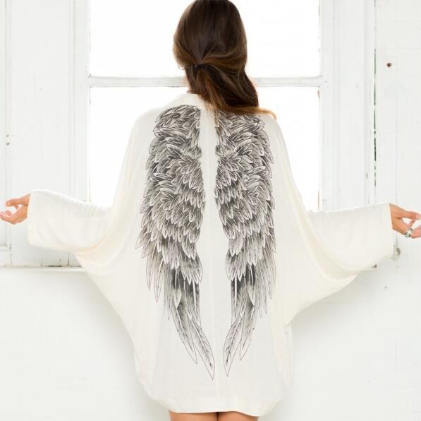 2015 Autumn back angel wings print ice silk womens cardigan European fashion loose jacket Female Brand Casual coat women sweater(China (Mainland))