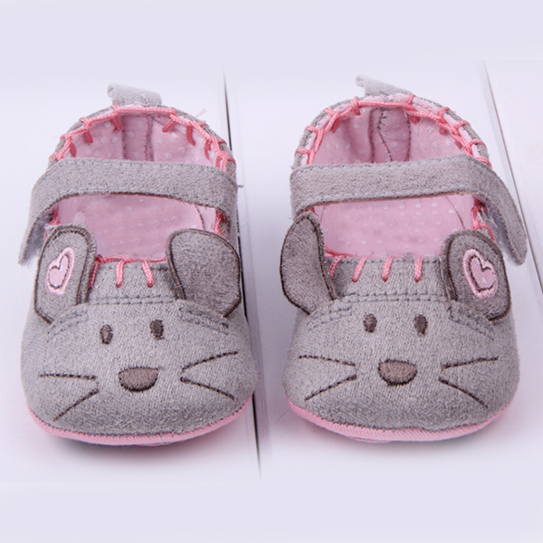 Free Shipping Cute Cotton First Walkers Grey/Pink Cartoon Mouse Soft With Pattern Shading soft sole baby shoes 3 size to choose