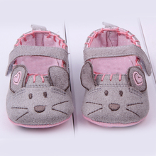 Cute Cotton First Walkers Grey/Pink Cartoon Mouse Soft With Pattern Shading soft sole baby shoes 3 size to choose(China (Mainland))