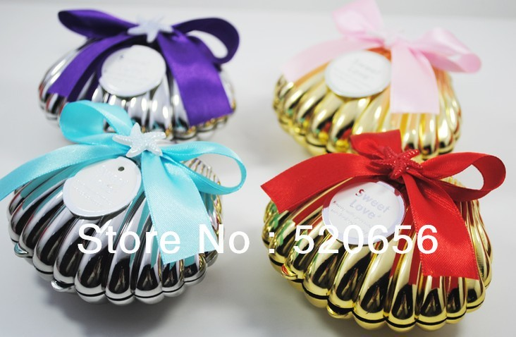 Free Shipping Plastic Seashell Wedding Candy Boxes Wedding Favors Gift Box Baby Shower Favor