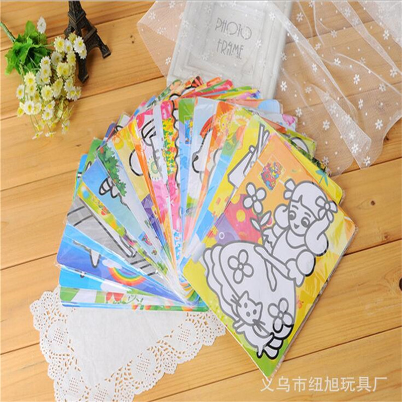 10pcs/lot Cute cartoon animal pattern Sand painting for kids DIYScratch Art Kid Painting Paper Toy(China (Mainland))