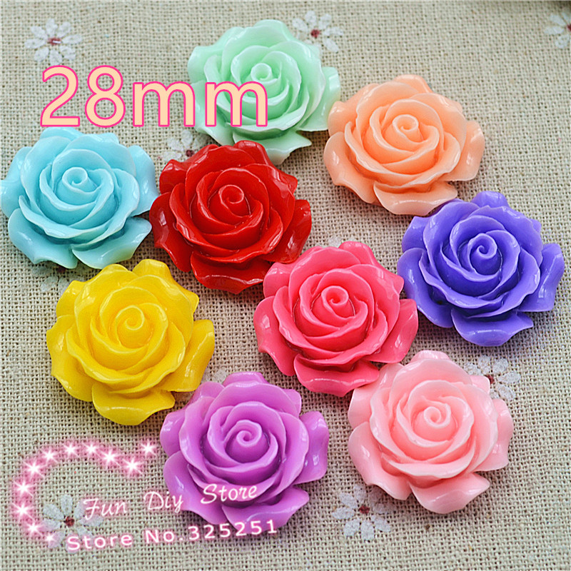 resin flat back flower cameos 28mm 10pcs for hair bow center mix color free shipping(China (Mainland))