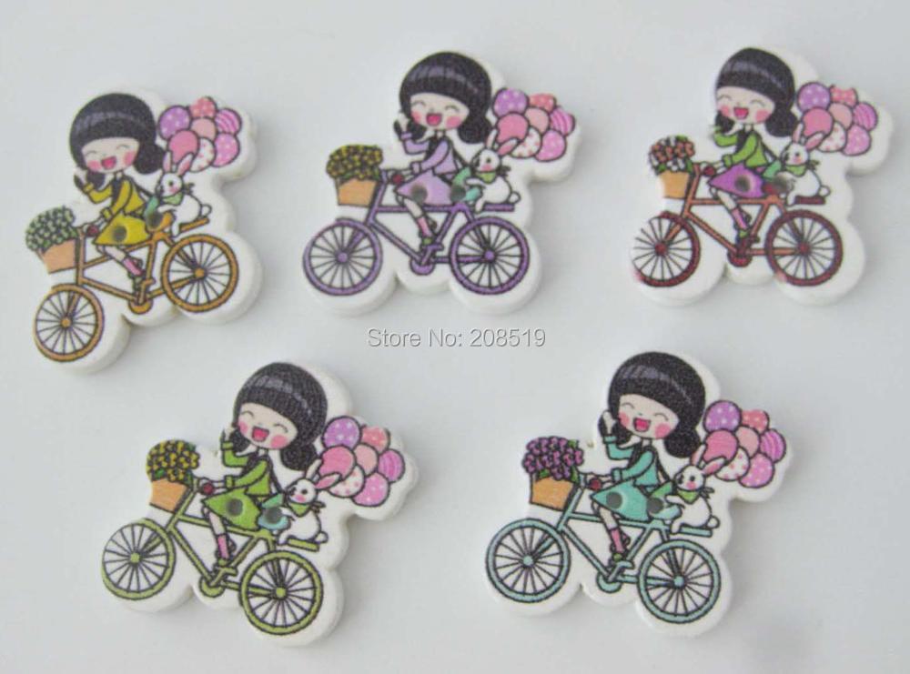 WBNAGG Fashion buttons for children Girl ride on a bike 150pcs mix randomly Fait Main scrapbook(China (Mainland))