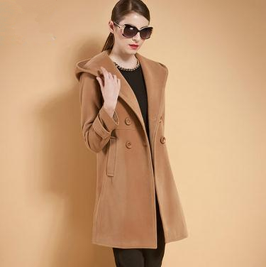 2016 Spring Autumn Hooded Wool Coat Women Double Breasted Long Sleeve Slim Woolen Camel Coat Women's Jacket Trench Coats CJJ0092(China (Mainland))