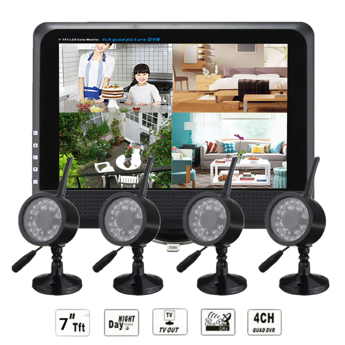 NEW 7inch LCD Digital Wireless Monitor DVR CCTV Kit 4 Channel Quad Security System With 4 Cameras Baby monitor Record EU Plug(China (Mainland))