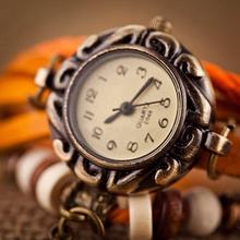 Woman Girl Vintage Leather Bracelet Starfish Decoration Quartz Wrist Watch 2EGP