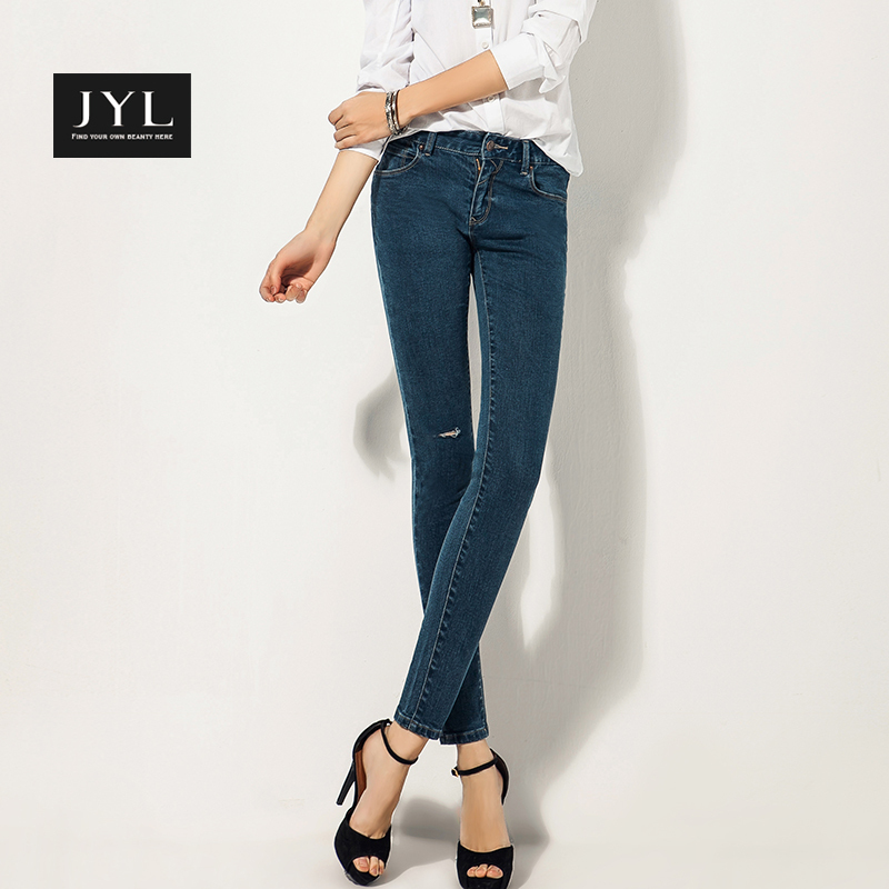 JYL jeans 2015 New Casual Play Jeans Street style hole,blue denim women's jean pants brand trousers - store