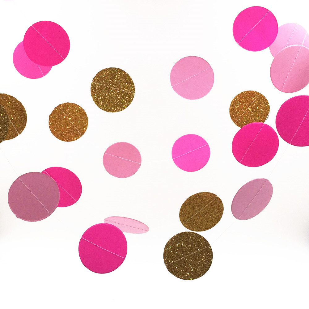 Gold /Ros/Pink Glitter 2 Meters Paper Garland, Circle Garland, Shower Party Banner Home Decoration(China (Mainland))