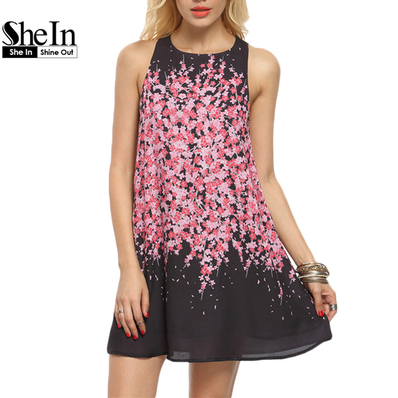 SheIn Woman Floral Print Casual Short Dresses Ladies Summer Beach Multicolor Round Neck Sleeveless Cut Out Shift Dress(China (Mainland))