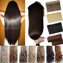"""UPS FAST FREE SHIPPING Long 23"""" Straight Clip in hair Extensions 3/4 Full head 100% Real Thick One piece 5 clips For Party hair(China (Mainland))"""