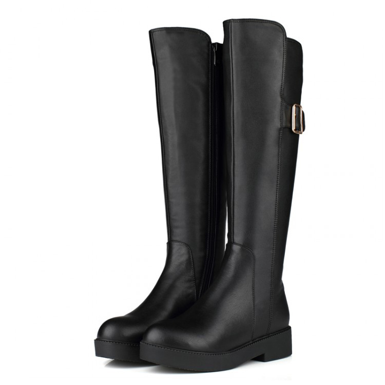 free shipping New Arrival Fashion Winter Flat Genuine leather Boots MOTOROLA Martin boots knee-high boots For Women<br><br>Aliexpress
