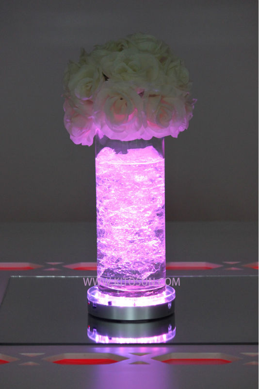 "Wholesale 40pcs/Lot Remote Controlled 6"" Rechargeable Multicolors Light Base Wedding Decoration Under Vase LED Light(China (Mainland))"