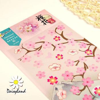 E44 1 Sheet Romantic Sakura Cherry Blossoms Adhesive Stickers DIY Scrapbooking Stick Label Decor Student Stationery Kids Gift