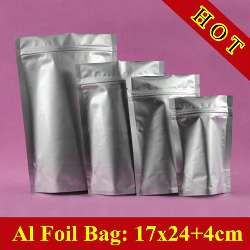100pcs/lot 17cm*24cm+4cm(Bottom) 240mic Aluminum Foil Bag, Doypack Food Grade Bag, Tea Storage Bag, Free Shipping(China (Mainland))