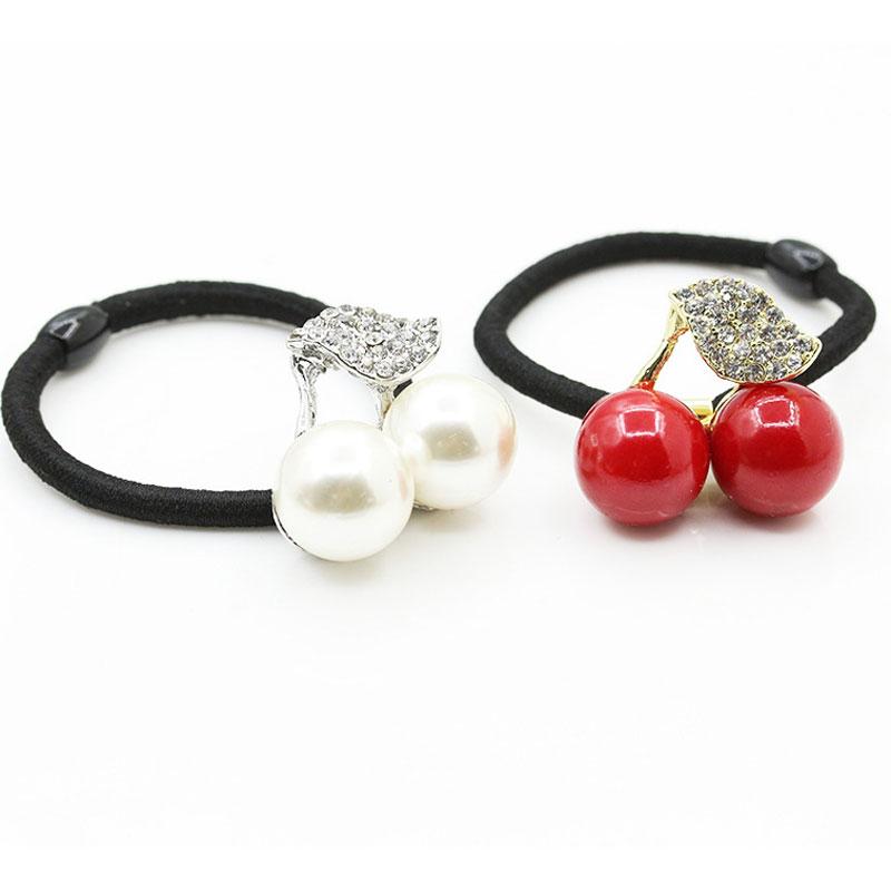 Women Hair Accessories Cute Elastic Hair Bands Girl Hairband Rope Gum Hair Rubber Band Headband Pearl Cherry Headwear
