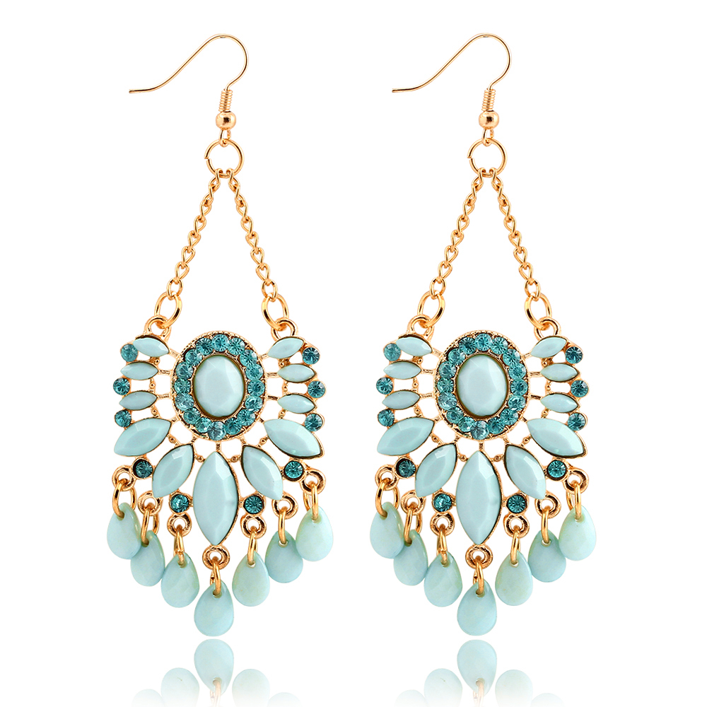 Hot Sale Sky Blue Water Drop Crystal Statement Dangle Earring Fancy Luxury Summer Style Big Drop Earrings For Women For PD21(China (Mainland))