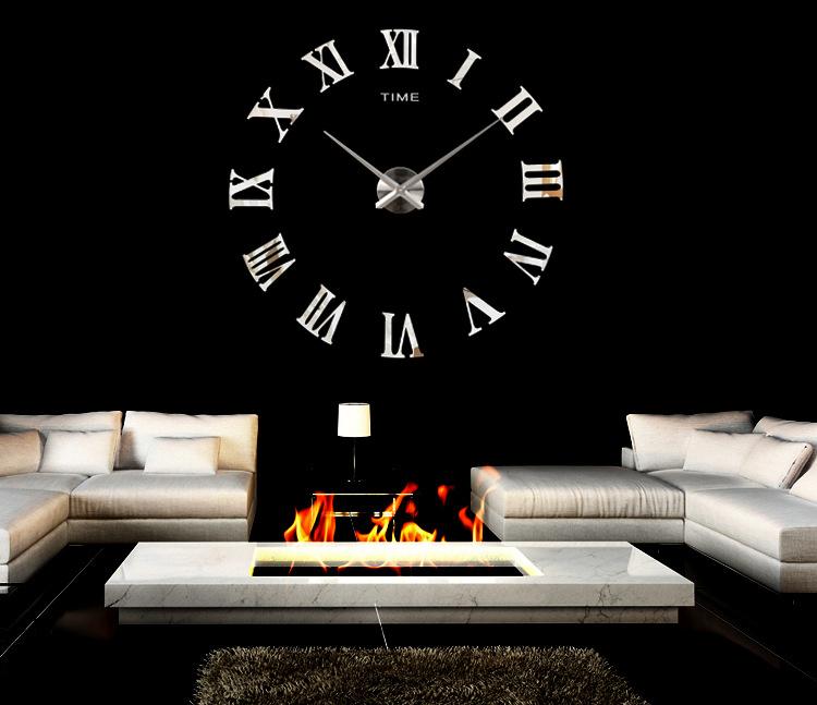 promotion 2016 new home decor large roman mirror fashion modern Quartz clocks living room diy wall clock watch free shipping(China (Mainland))