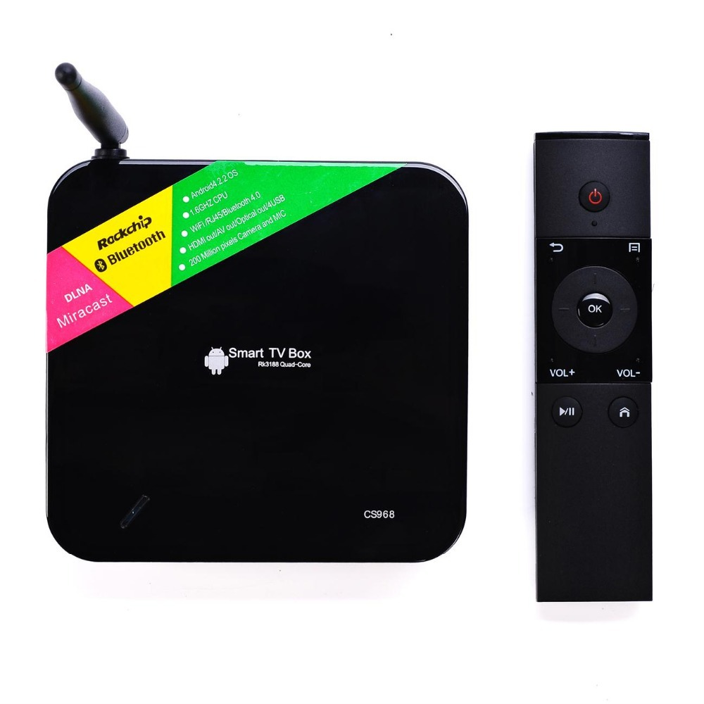 CS968 / TV01 Android TV Box Quad Core Smart Receiver Webcam Microphone RK3188 1.6GHz 2G/8G HDMI AV USB RJ45 OTG WiFi Mini PC - Home of shopping store