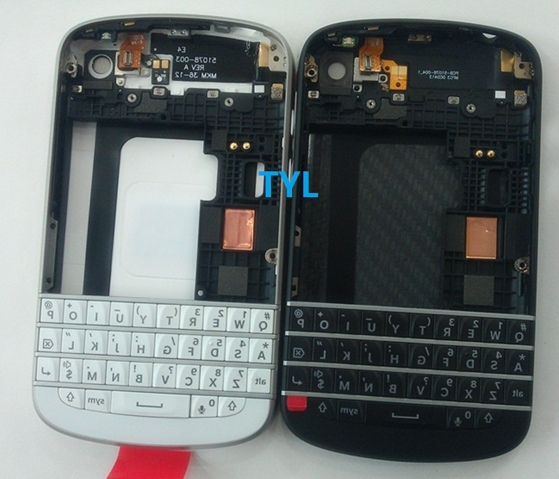Black/White Original For Blackberry Q10 Front Housing +Middle Board Bezel +Back Cover Door+ Keypad 1 piece free shipping