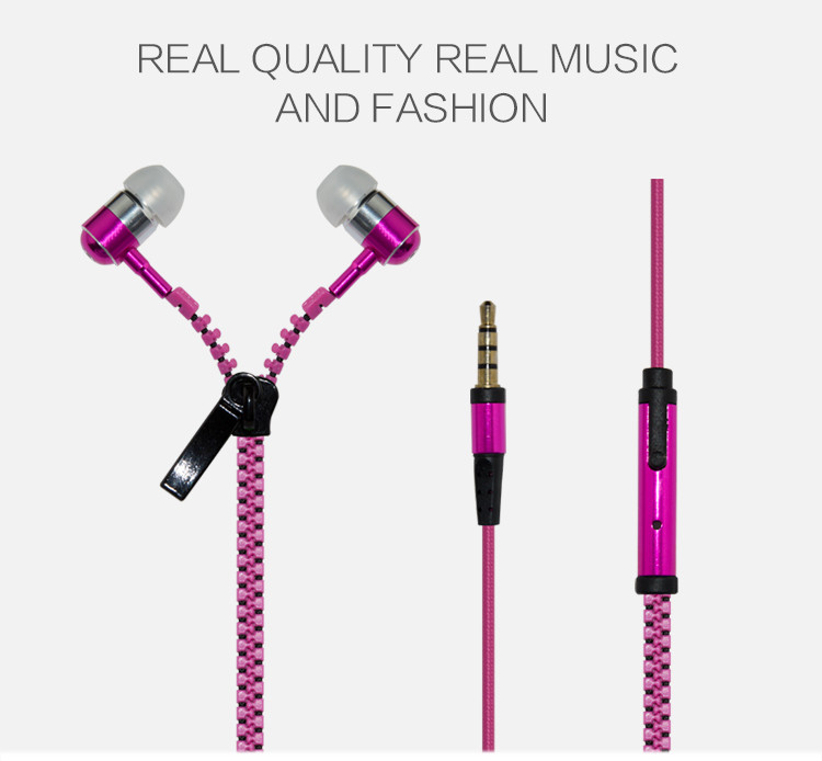Metal Luminous Zipper Nylon line In-Ear EarPhones Stereo Headsets Bass Earbuds ear phone With Microphone For Mobile Phone PC MP3