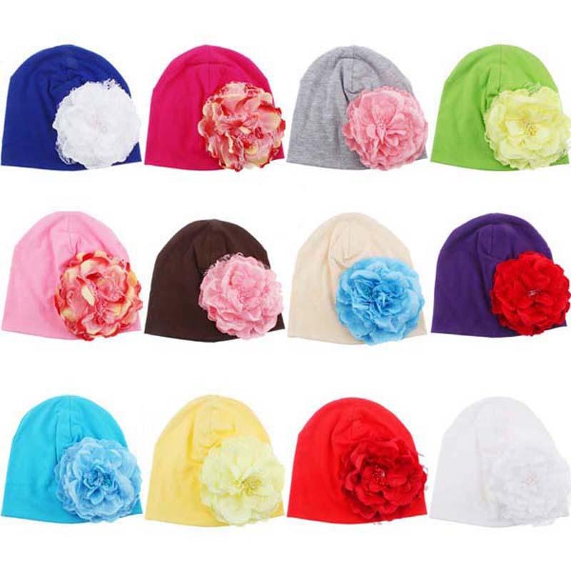 Baby Flower Hat Little Girls Cotton Beanie Hat Skull Elastic Caps Modeling of Flower Children's Fashion Cap 10pcs MH075-M(China (Mainland))