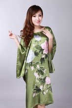 High Quality Green Female Faux Silk Bathrobe Summer Lounge Kimono Gown Fashion Novelty Nightdress Dropshipping One Size