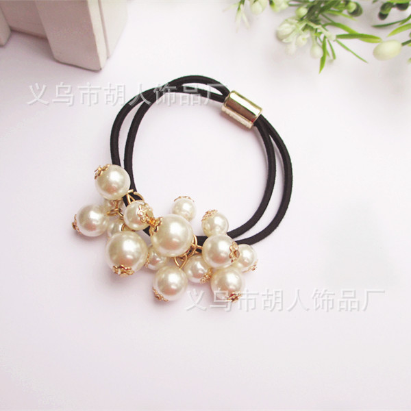 Double strand pearl multi-section high-elastic hair band lady head flower children of low-grade rubber band headdress Korean hai(China (Mainland))