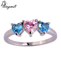 lingmei Wholesale New Fashion Love London Blue Topaz & Pink Sapphire Silver Ring Size 6 7 8 9 10 11 Nice Jewelry For Women Gift
