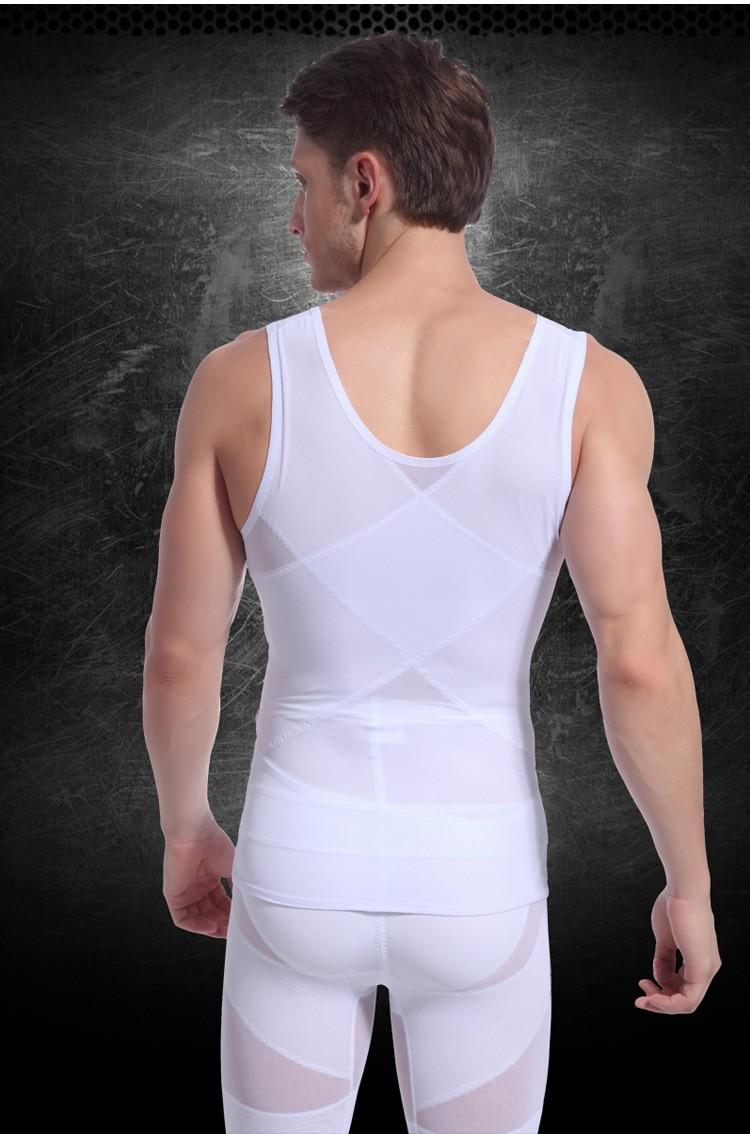 Модный 2015   1pc Белый/Черный Цвет Men's Жилет Tank Верх Slimming Shirt Corset Body Shaper Fatty