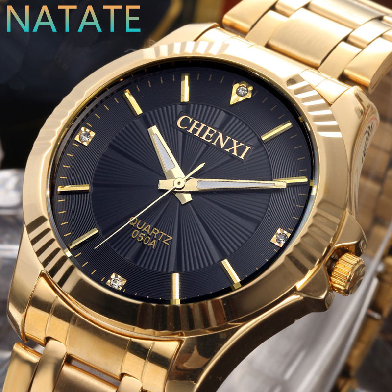 NATATE CHENXI Clock Gold Fashion Men Watch Full gold Stainless Steel Quartz Watches Wrist Watch Wholesale Gold Watch Men 0940(China (Mainland))