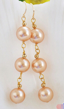 P5121 10MM champagne round south sea shell pearl DANGLE EARRING >Lovely Fine Nobility Lady's Women's Earrings(China (Mainland))