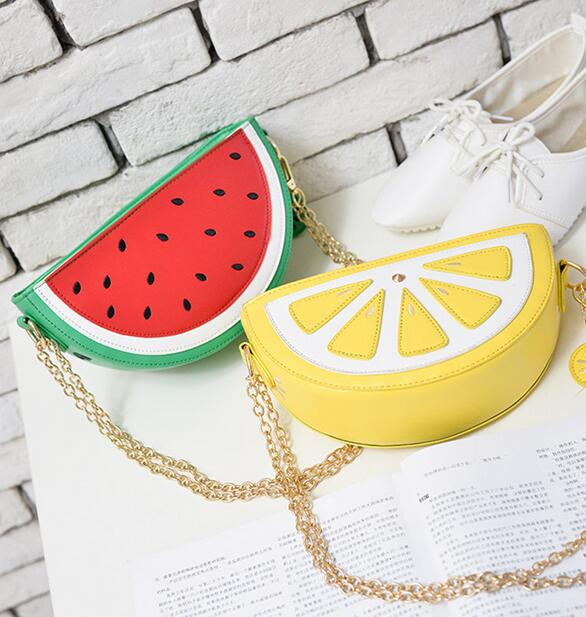 Sweet girl summer new female bag quality pu leather women bag cute fruit packet chain shoulder