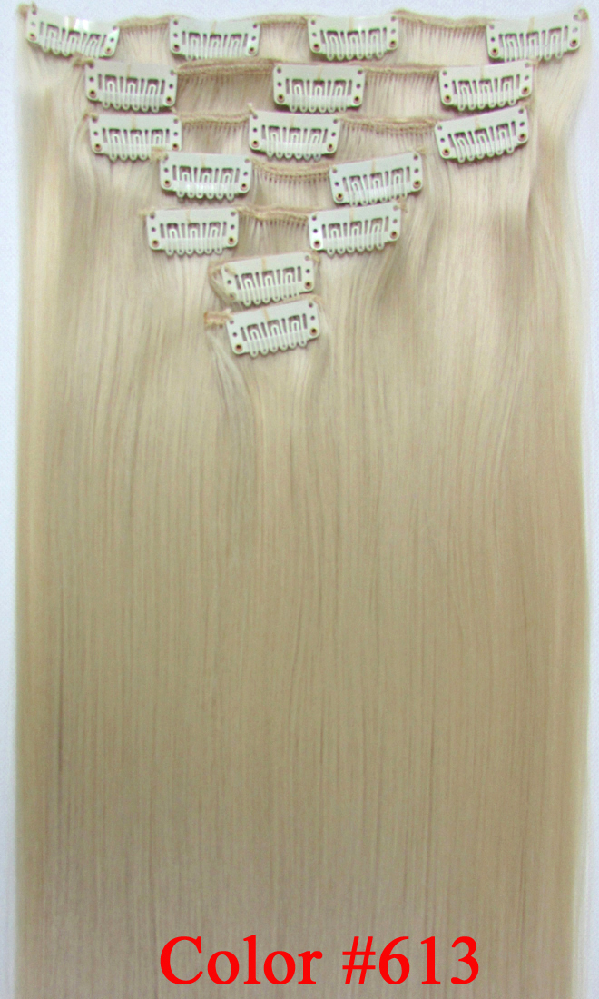 24 (60cm) 130g straight clip in hair extensions no shiny synthetic fiber color  #613 Bleach Blonde<br><br>Aliexpress