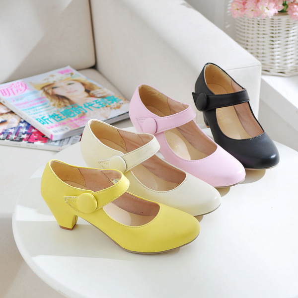 2015 PU shoes square heel fashion office woman mid-heel pumps  pink black beige yellow lady career big size 43