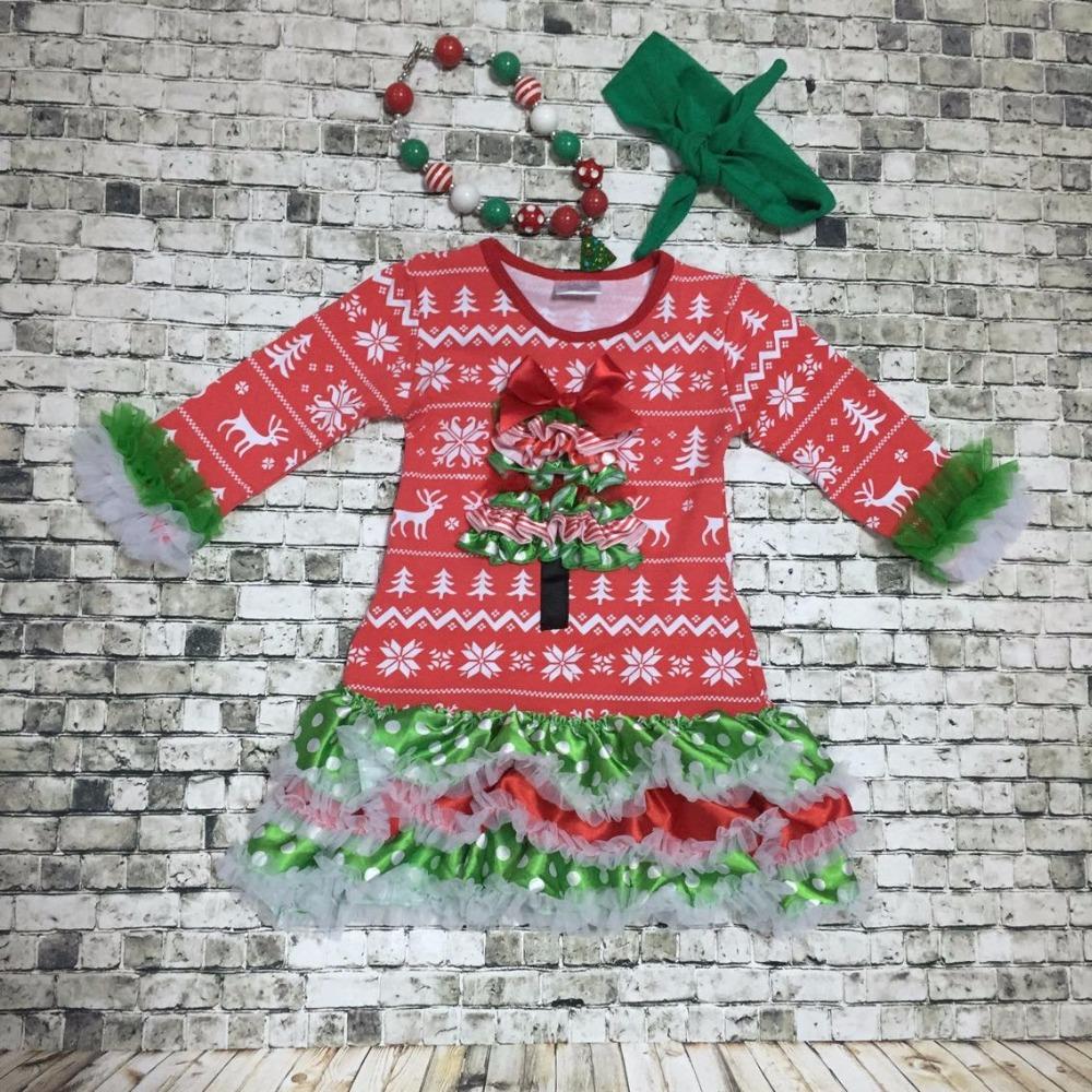 Christmas grils dress baby kids xmas tree santa dress best christmas