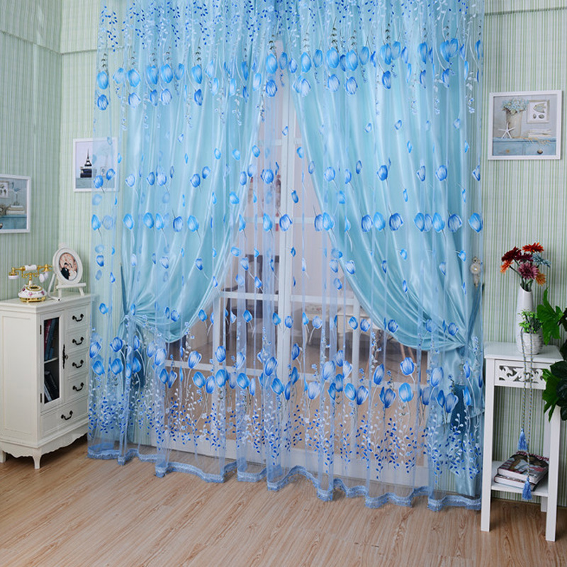 1pcs Cheap Kids Tulle Curtains Tulip Flower Sheer Window Curtain for Living Room Bedrrom(China (Mainland))