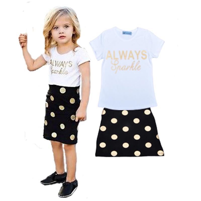 Brand girls clothes set letter print Short sleeve T-shirt T shirt vest+Polka Dot black Skirt summer fashion kids girls clothing(China (Mainland))