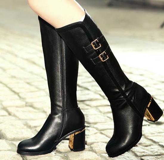 Knee high boots Spike Heels smart Round Toe women all-match trend shoes high heel Full Grain Soft Leather simple botas feminina(China (Mainland))