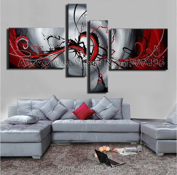 Hand Painted Abstract Canvas Painting Modern Oil Picture Large 4 Piece Black White And Red Wall Art Set For Home Decoration Gift(China (Mainland))