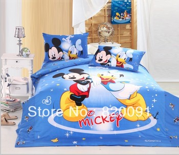 HOT ! 3 or 4pcs Twin/Full/Queen Discount Mickey Mouse & Donald Duck Bedlinen Doona Duvet Cover Set Bedroom Set for Children,Blue