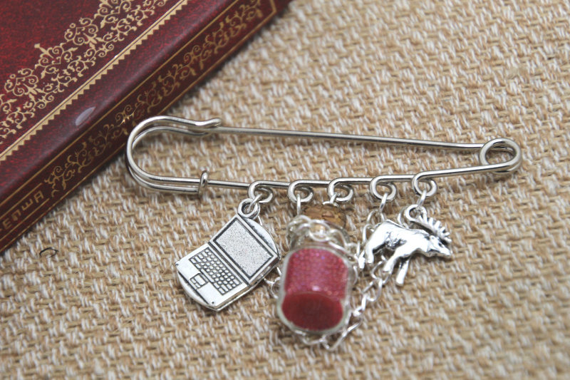 12pcs Supernatural inspired Sam Winchester themed charm with chain font b kilt b font pin brooch