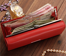 New Fashion Leather Women Wallet Solid Embossed Litchi Grain Wallets Ladies Long Clutches Coin Purse Card