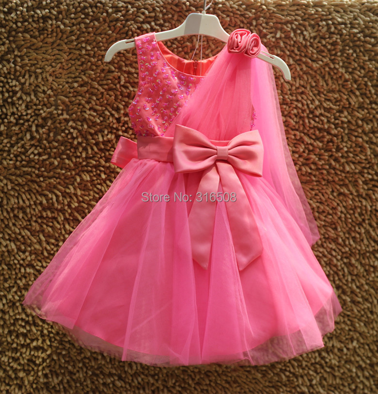 Free Shipping DHL 12pcs Wholesale  Summer Dress Girls Baby Kids Children Dresses New Fashion Dress Yarn Bow  Pearls Rose Color<br><br>Aliexpress
